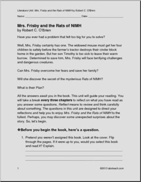 Book Units - Reading Comprehension - Mrs. Frisby and the