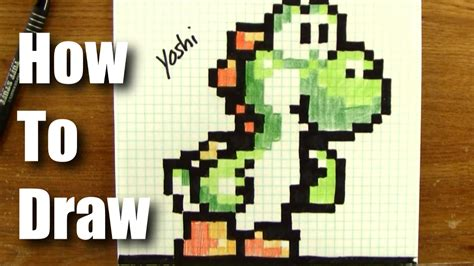 Drawing 8 Bit Characters by How To Draw Pixel Yoshi From Mario Step By Step