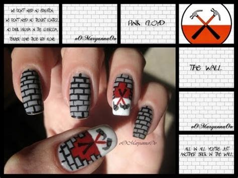 tutorial nail art spugnato nail art quot the wall pink floyd quot tutorial youtube
