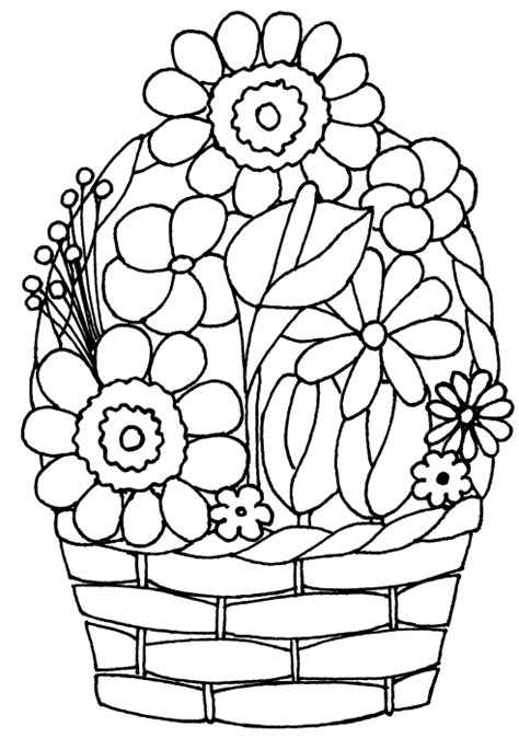 coloring pages of flower baskets drawing of basket of flowers cliparts co