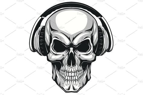 Skull Headphones skull with headphones illustrations creative market