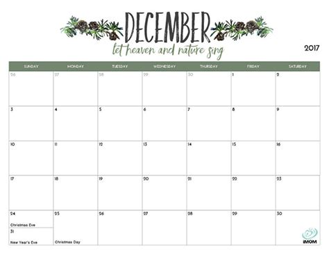 Printable December 2017 Calendar Imom | 2017 printable calendar for moms imom