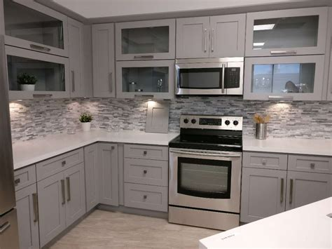 Ready To Finish Kitchen Cabinets Shaker Gray Finish Cabinets Roc Cabinetry Atlanta