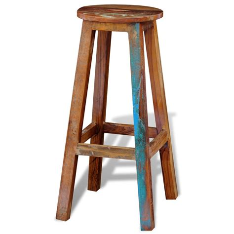 Solid Wood Bar Table And Stools by Reclaimed Solid Wood High Bar Stool Vidaxl