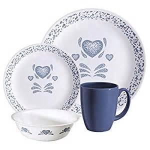 livingware blue hearts 16 dinnerware set