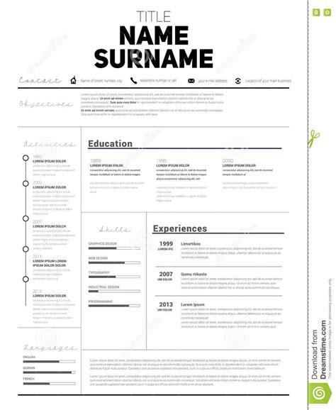 simple design resume template minimalist cv resume template stock photo cartoondealer 77239560