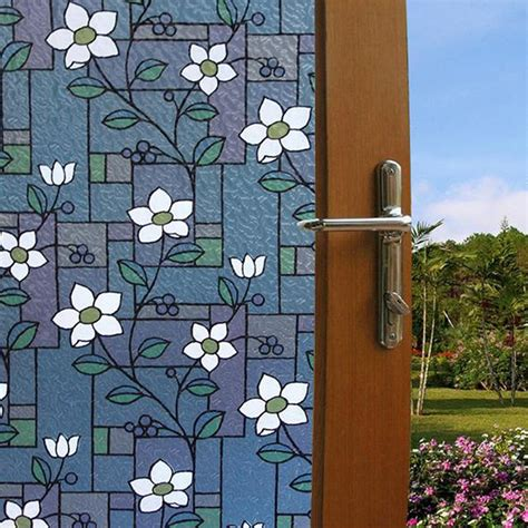 stained glass stickers for doors opaque flower stained glass window colorful flower