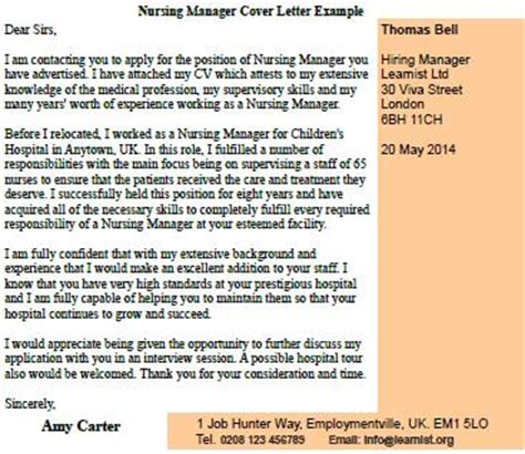 nursing manager cover letter exle forums learnist org