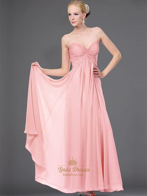 Dress Twis Flowy pink sweetheart strapless chiffon bridesmaid dress with twist front dress