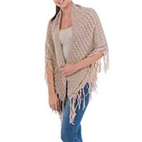 Esperansa Multicolor Pashmina Scarf handcrafted alpaca wool crocheted shawl ivory novica