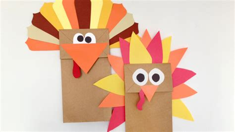 Paper Bag Turkey Craft - paper bag turkey puppet grandparents