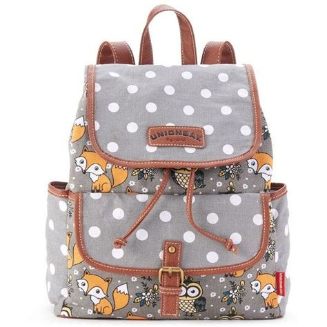 unionbay fox owl polka dot backpack grey 23 liked on polyvore featuring bags backpacks