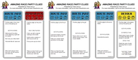 the amazing race clue template amazing race for chica and jo