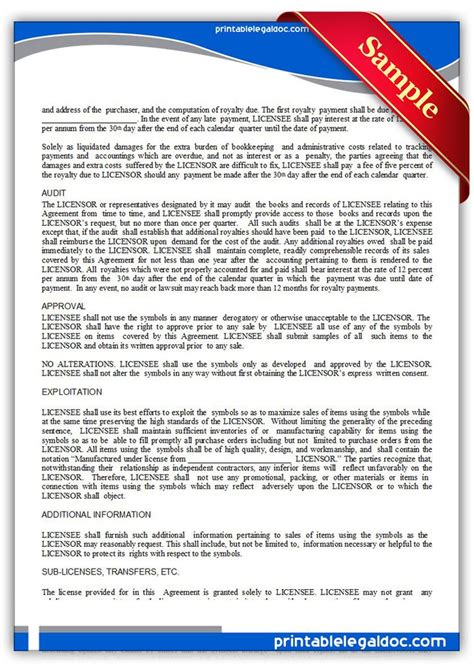 trademark licensing agreement template 1015 best printable forms images on free