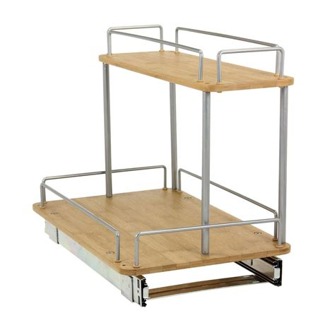 house essentials household essentials 11 5in glidez 2 tier bamboo sliding cabinet organizer 1265b 1 the home depot