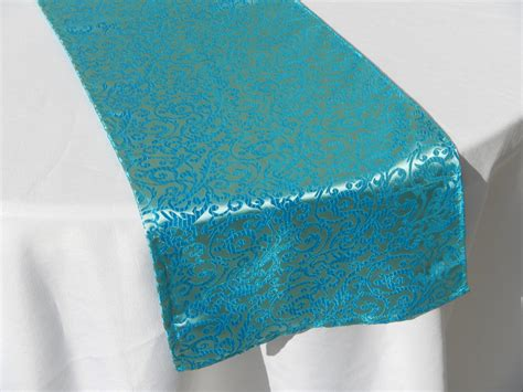 Teal Table Runners by Teal Damask Print Table Runner Wedding Shower By