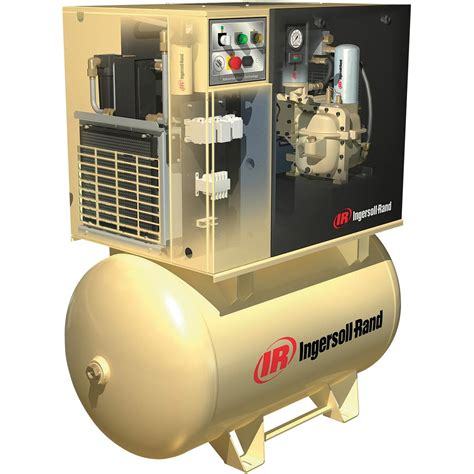 ingersoll rand rotary compressor w total air system 230 volts 1 phase 7 5 hp 28 cfm
