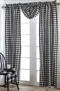 Black And White Checkered Curtains Buffalo Black Checks Window Panel Set White Plaid Country Cottage Curtain Ebay