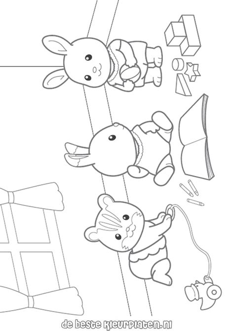 sylvanian family coloring page calico critters coloring page sylvanian families001