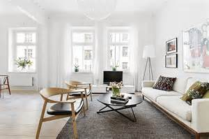 Scandinavian Home Interior Design typical swedish living room next to the kitchen woont