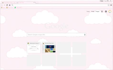 google chrome themes girly pink glitter clouds google chrome theme by sleepy