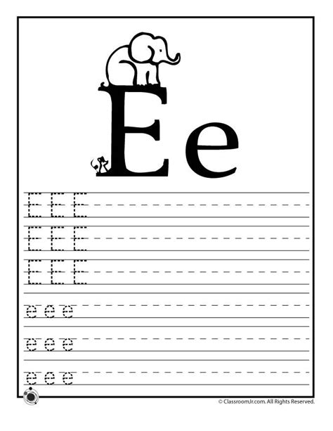 printable worksheets for junior kindergarten learning abc s worksheets learn letter e classroom jr