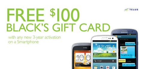 Telus Gift Card - black s 100 black s gift card with any new 3 year activation on a smartphone 1000