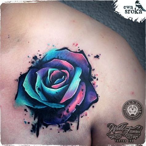 coloured rose tattoo unique by ewa sroka warsaw poland tattooblend