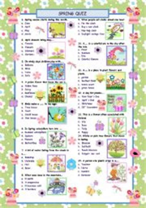 printable quiz about spring english worksheets spring words quiz