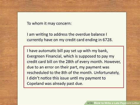 Late Credit Card Payment Letter Of Explanation How To Write A Late Payment Letter 9 Steps With Pictures