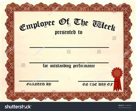 Of The Week Certificate Template by Employee Week Certificate Fill Blanks Stock Illustration