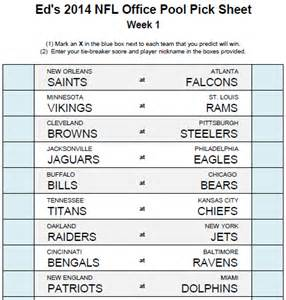 How To Pick Sheets by Ed S Nfl Office Pool