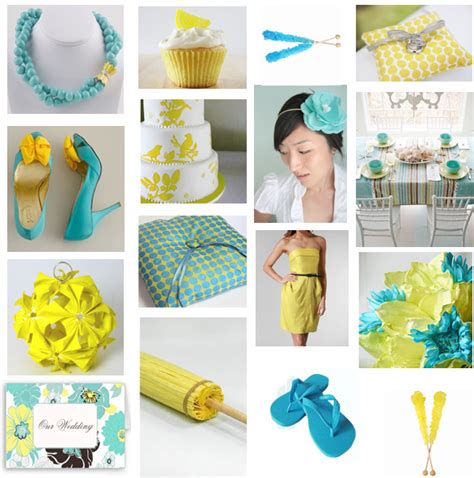 turquoise and yellow detail in ink turquoise and yellow wedding inspiration