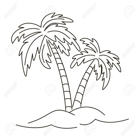 palm tree drawing outline drawing sketch picture