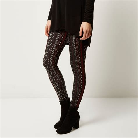 patterned tights river island river island black geometric pattern leggings in black lyst
