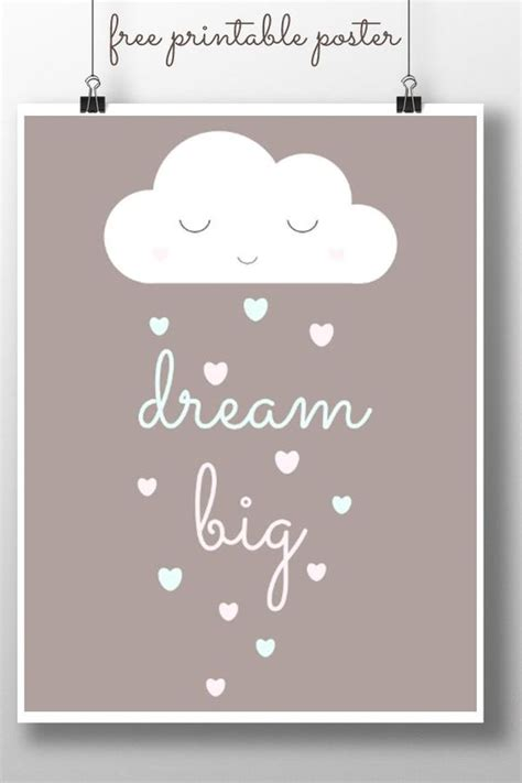printable dream quotes dream big printable poster hold on childs bedroom and
