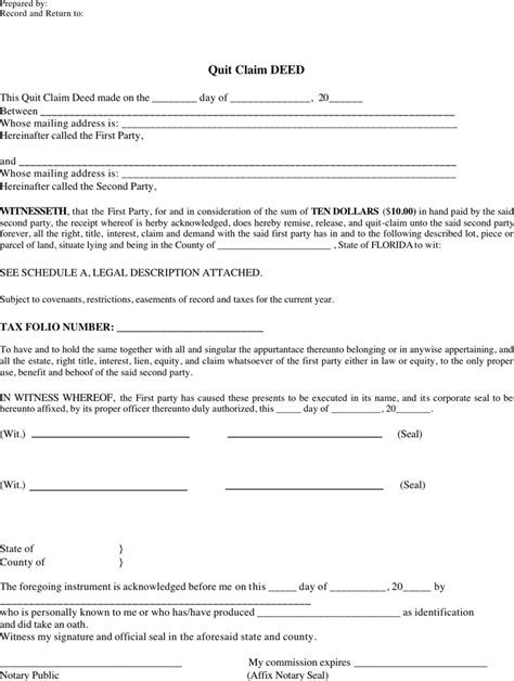 printable blank quit claim deed form quit claim deed form florida business form templates