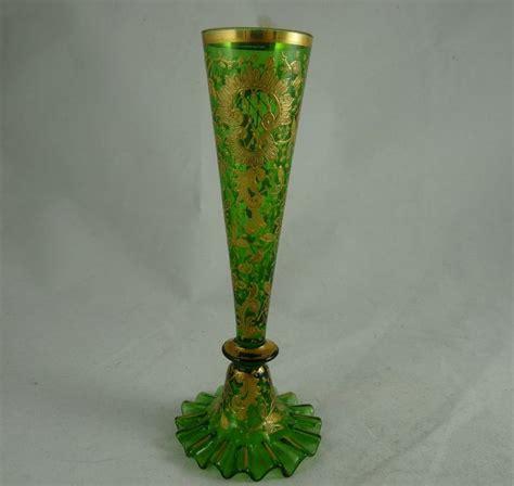 Bohemian Vase by Bohemian Green Glass Bud Vase With Gold Enamel