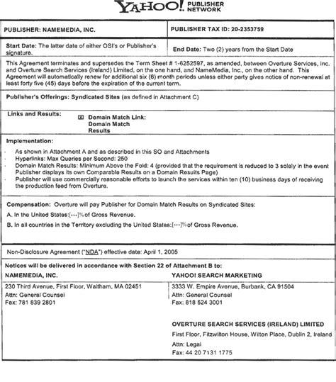 partnership agreement template ireland yahoo publisher network service order namemedia inc