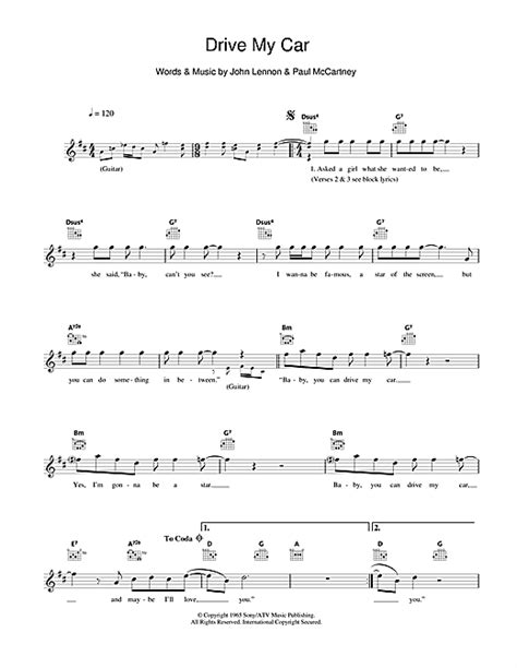 drive by chord drive my car chords by the beatles melody line lyrics
