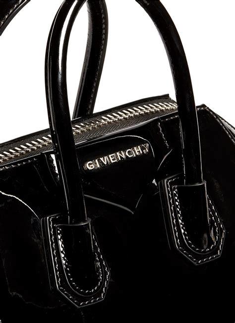 Givenchy Antigona Black Hardware 1 givenchy antigona mini patent leather bag in black lyst