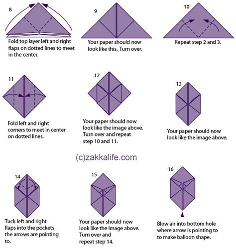 Origami Balloon Step By Step - printable origami