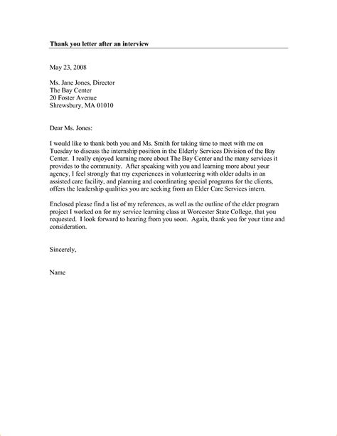 thank you letter after interview 7 free word pdf