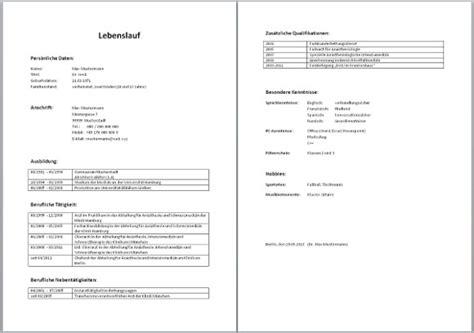 Tabellarischer Lebenslauf Vorlage Doc Tabellarischer Lebenslauf Muster Aufbau Word Vorlage Beispiel