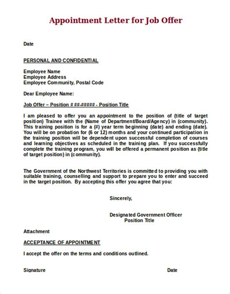 appointment letter sle of employee offer letter sle 8 exles in word pdf
