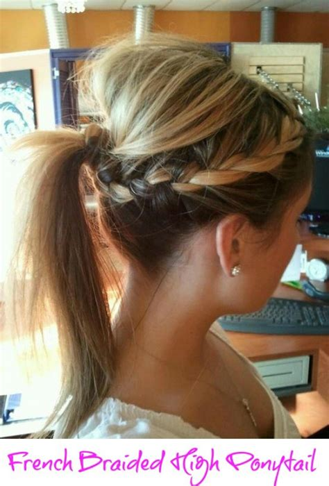 french braid bang pony tail step by step creative diy hairstyle french braided high ponytail