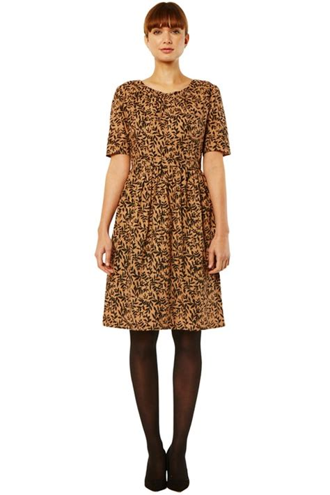 Leaf Print Dress Smlxl S460 tree leaf print dress in brown