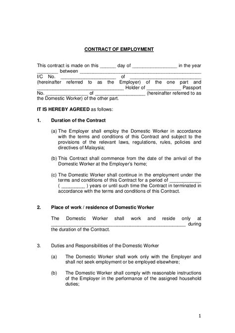 Contract Of Employment Employment Contract Template Free