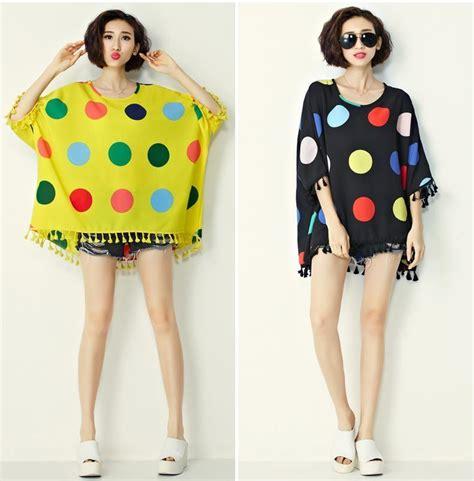 Blouse Big Size Motif Polka 2 plus size s t shirt summer style o neck polka dot t shirt casual big size shirt dress