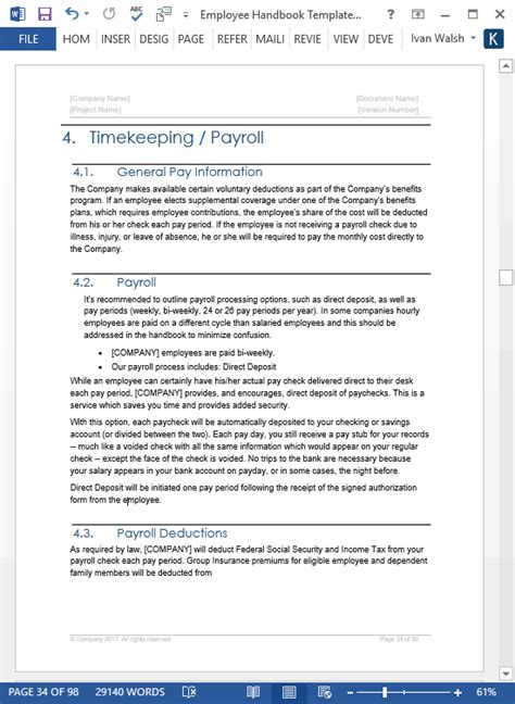 employee manual template employee handbook template 100 pg ms word